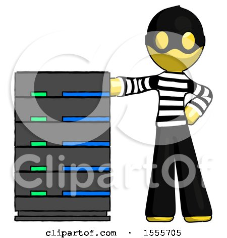 Yellow Thief Man with Server Rack Leaning Confidently Against It by Leo Blanchette