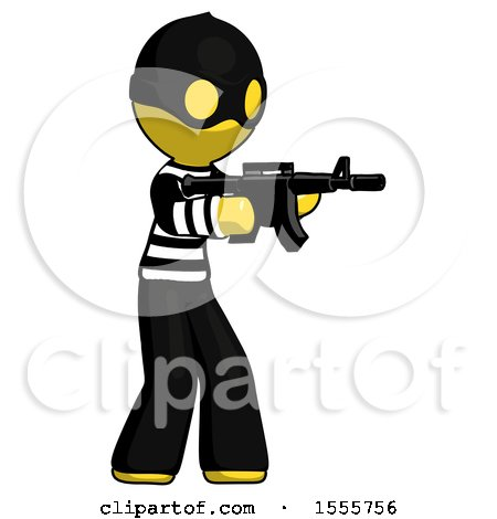 Yellow Thief Man Shooting Automatic Assault Weapon by Leo Blanchette