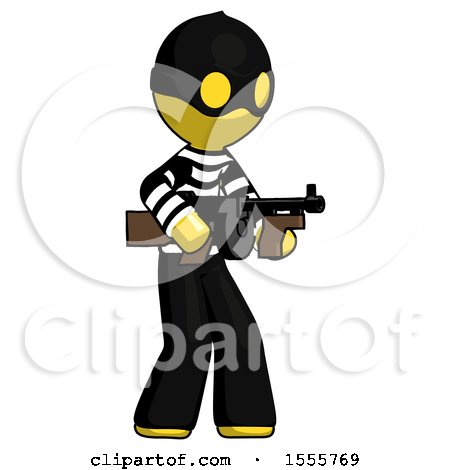 Yellow Thief Man Tommy Gun Gangster Shooting Pose by Leo Blanchette