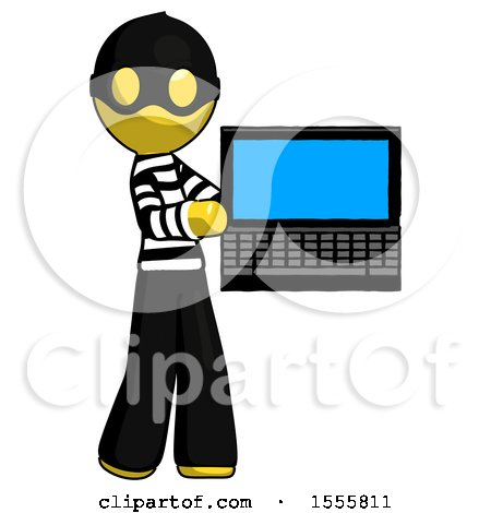 Yellow Thief Man Holding Laptop Computer Presenting Something on Screen by Leo Blanchette
