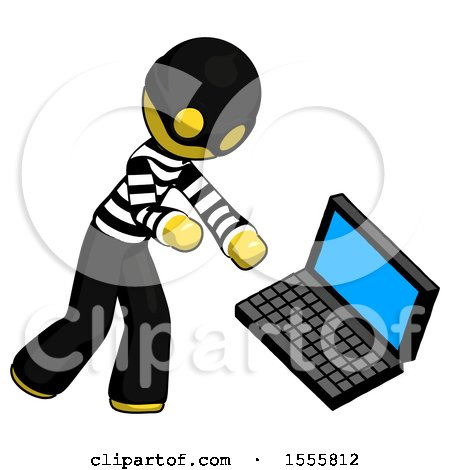 Yellow Thief Man Throwing Laptop Computer in Frustration by Leo Blanchette