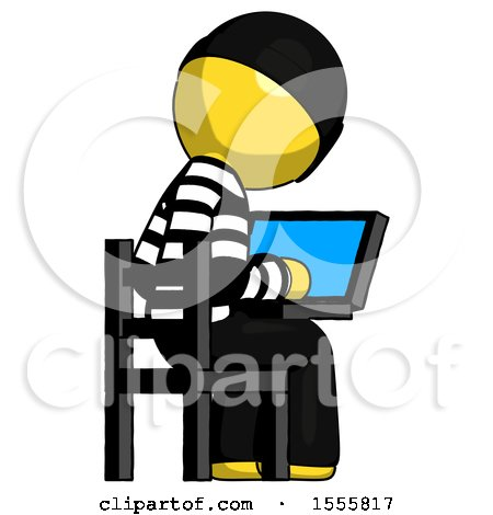Yellow Thief Man Using Laptop Computer While Sitting in Chair View from Back by Leo Blanchette