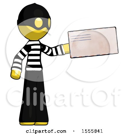 Yellow Thief Man Holding Large Envelope by Leo Blanchette