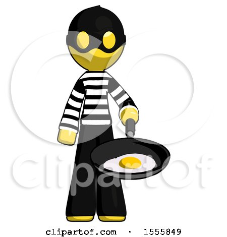 Yellow Thief Man Frying Egg in Pan or Wok by Leo Blanchette