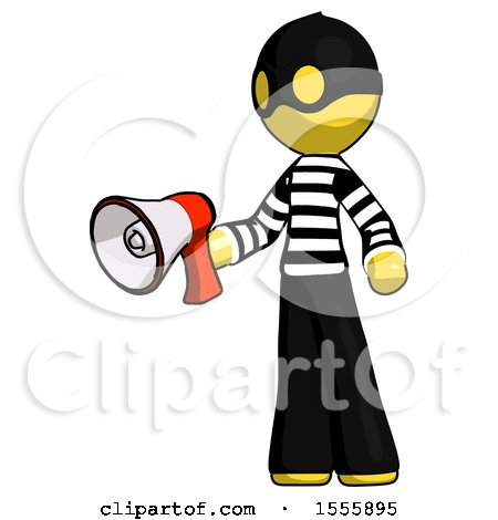Yellow Thief Man Holding Megaphone Bullhorn Facing Right by Leo Blanchette