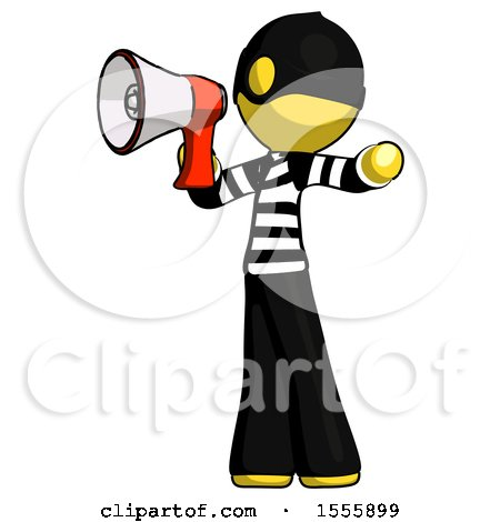 Yellow Thief Man Shouting into Megaphone Bullhorn Facing Left by Leo Blanchette