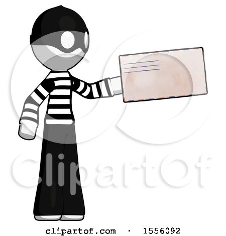 White Thief Man Holding Large Envelope by Leo Blanchette