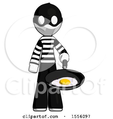 White Thief Man Frying Egg in Pan or Wok by Leo Blanchette