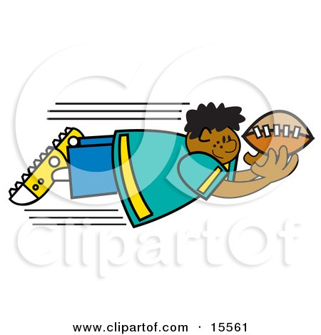 Fast Boy Flying Through the Air to Catch a Football Clipart Illustration by Andy Nortnik