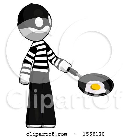 White Thief Man Frying Egg in Pan or Wok Facing Right by Leo Blanchette