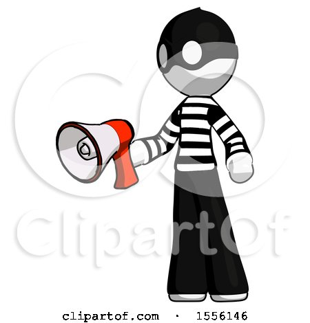 White Thief Man Holding Megaphone Bullhorn Facing Right by Leo Blanchette