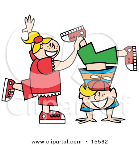 Happy Freckled Blond Little Girl Helping Her Brother Do A Handstand Clipart Illustration by Andy Nortnik