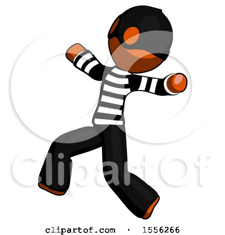 Orange Thief Man Running Away in Hysterical Panic Direction Left by Leo Blanchette