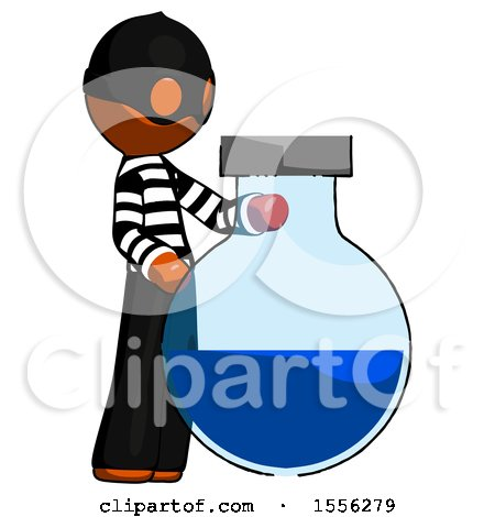 Orange Thief Man Standing Beside Large Round Flask or Beaker by Leo Blanchette