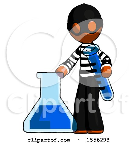 Orange Thief Man Holding Test Tube Beside Beaker or Flask by Leo Blanchette