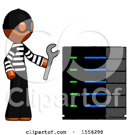 Orange Thief Man Server Administrator Doing Repairs by Leo Blanchette
