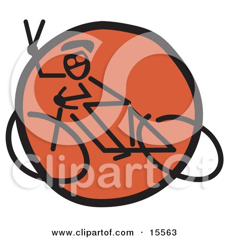 Friendly Biker Flashing a Peace Sign Gesture While Riding Past on a Bicycle Posters, Art Prints