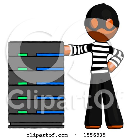 Orange Thief Man with Server Rack Leaning Confidently Against It by Leo Blanchette