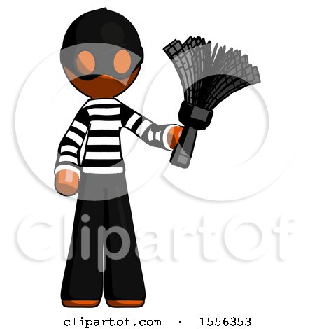 Orange Thief Man Holding Feather Duster Facing Forward by Leo Blanchette