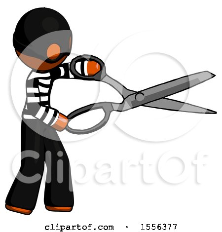 Orange Thief Man Holding Giant Scissors Cutting out Something by Leo Blanchette