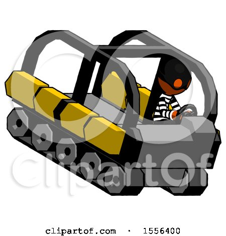 Orange Thief Man Driving Amphibious Tracked Vehicle Top Angle View by Leo Blanchette