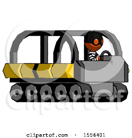 Orange Thief Man Driving Amphibious Tracked Vehicle Side Angle View by Leo Blanchette
