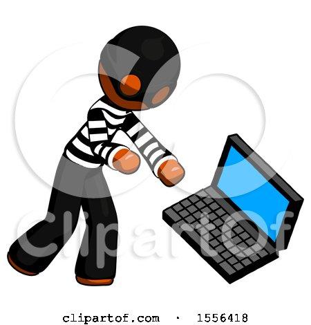 Orange Thief Man Throwing Laptop Computer in Frustration by Leo Blanchette