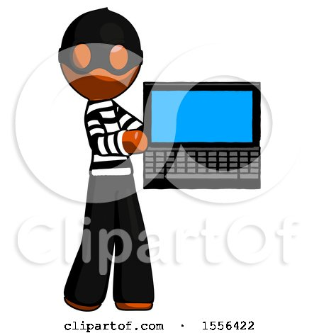 Orange Thief Man Holding Laptop Computer Presenting Something on Screen by Leo Blanchette