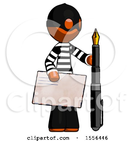 Orange Thief Man Holding Large Envelope and Calligraphy Pen by Leo Blanchette