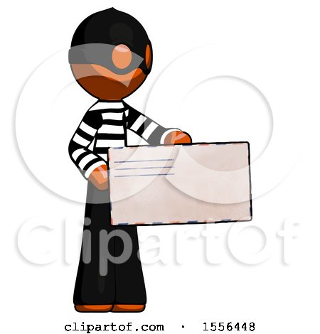 Orange Thief Man Presenting Large Envelope by Leo Blanchette