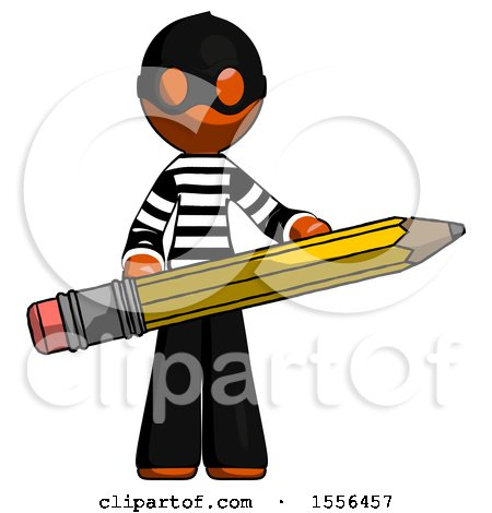 Orange Thief Man Writer or Blogger Holding Large Pencil by Leo Blanchette