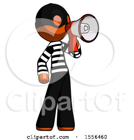 Orange Thief Man Shouting into Megaphone Bullhorn Facing Right by Leo Blanchette