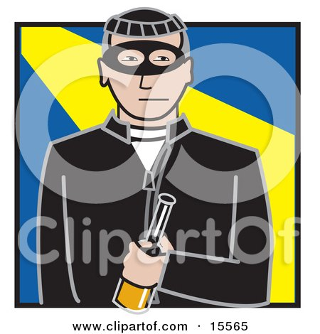 Male Robber Dressed In Black, Wearing A Mask And Holding A Bottle Clipart Illustration by Andy Nortnik
