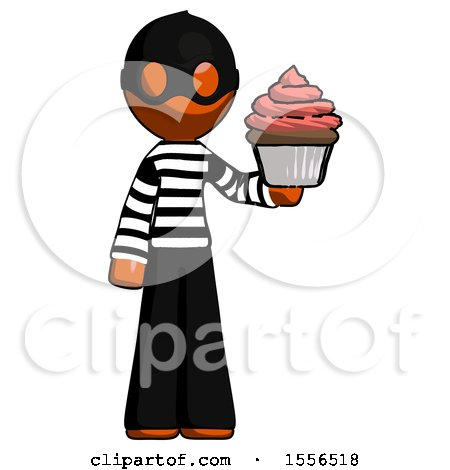 Orange Thief Man Presenting Pink Cupcake to Viewer by Leo Blanchette