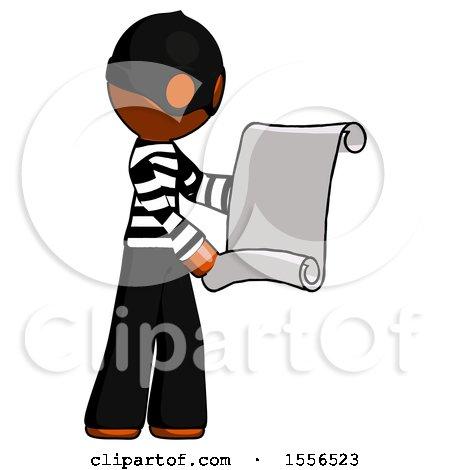 Orange Thief Man Holding Blueprints or Scroll by Leo Blanchette