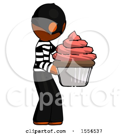 Orange Thief Man Holding Large Cupcake Ready to Eat or Serve by Leo Blanchette