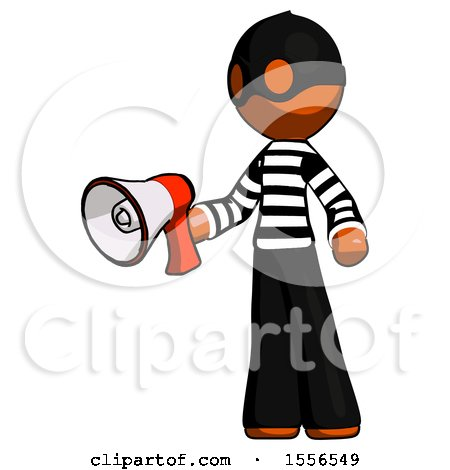 Orange Thief Man Holding Megaphone Bullhorn Facing Right by Leo Blanchette