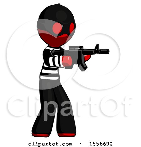 Red Thief Man Shooting Automatic Assault Weapon by Leo Blanchette
