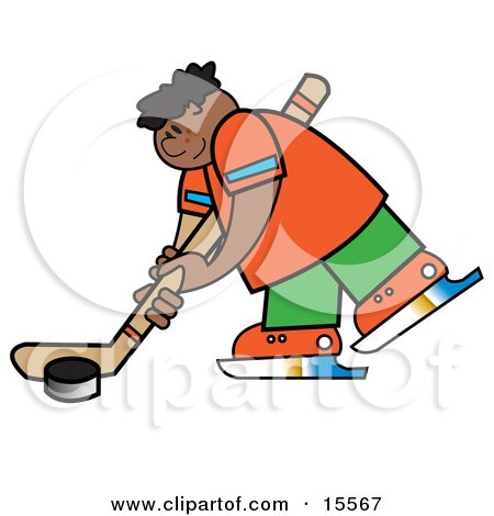 Sporty Boy Hitting a Hockey Puck During a Game or Practice Clipart Illustration by Andy Nortnik