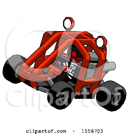 Red Thief Man Riding Sports Buggy Side Top Angle View by Leo Blanchette