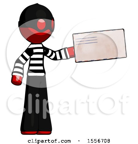 Red Thief Man Holding Large Envelope by Leo Blanchette