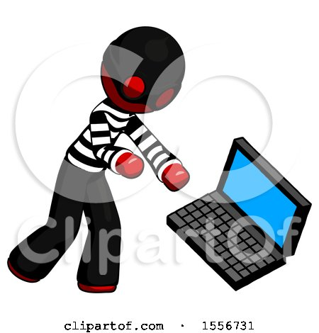 Red Thief Man Throwing Laptop Computer in Frustration by Leo Blanchette