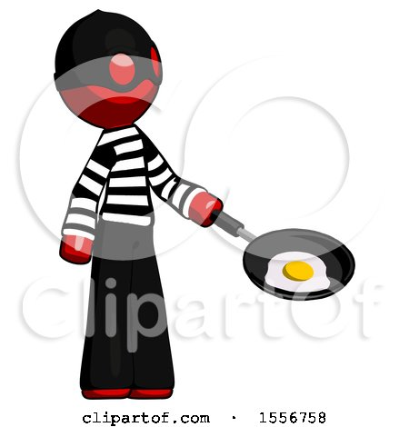 Red Thief Man Frying Egg in Pan or Wok Facing Right by Leo Blanchette
