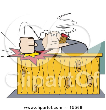 Angry Boss Smoking A Cigar And Slamming His Fist Down On His Desk Clipart Illustration by Andy Nortnik