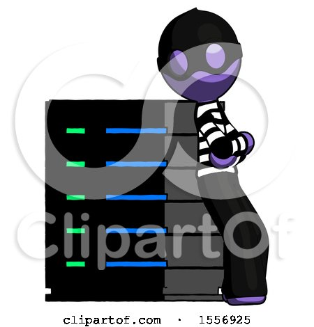 Purple Thief Man Resting Against Server Rack Viewed at Angle by Leo Blanchette