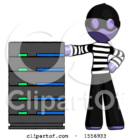 Purple Thief Man with Server Rack Leaning Confidently Against It by Leo Blanchette