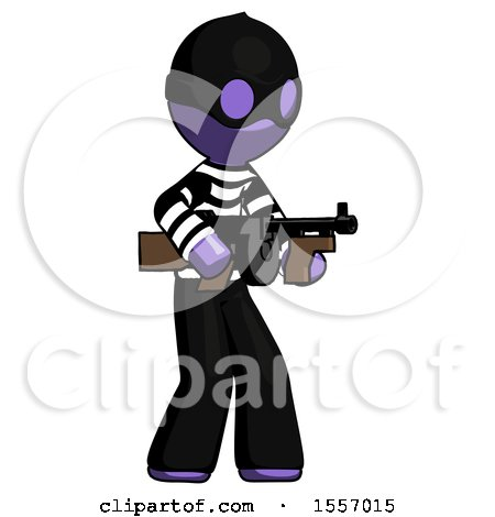 Purple Thief Man Tommy Gun Gangster Shooting Pose by Leo Blanchette