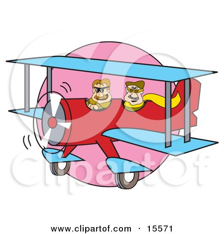 Two Men Flying in a Red Biplane With Blue Wings Clipart Illustration by Andy Nortnik