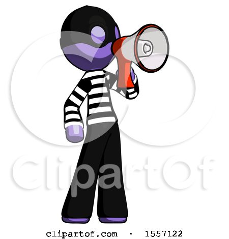 Purple Thief Man Shouting into Megaphone Bullhorn Facing Right by Leo Blanchette