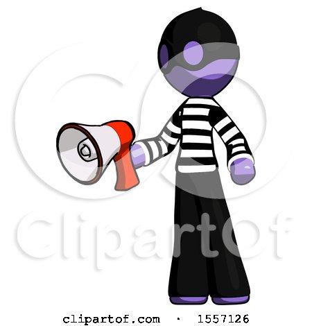 Purple Thief Man Holding Megaphone Bullhorn Facing Right by Leo Blanchette